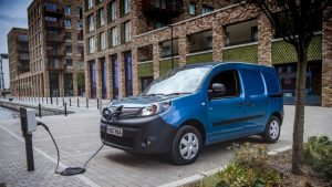 Electric van plugged in